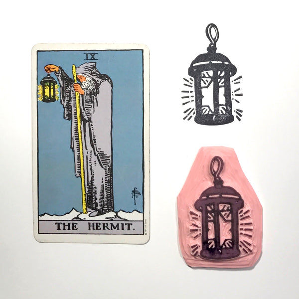 The Hermit's Lantern hand carved stamp