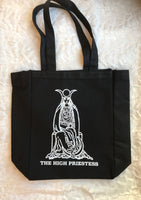 Black Tote Bag printed with The High Priestess in white ink