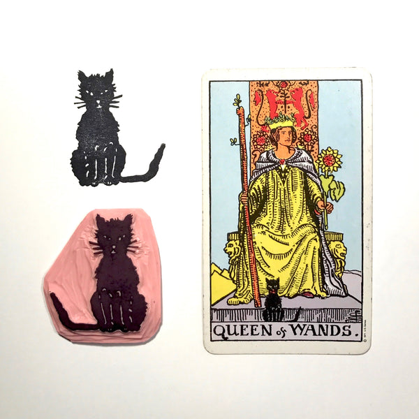 Queen of Wands' Cat hand carved stamp