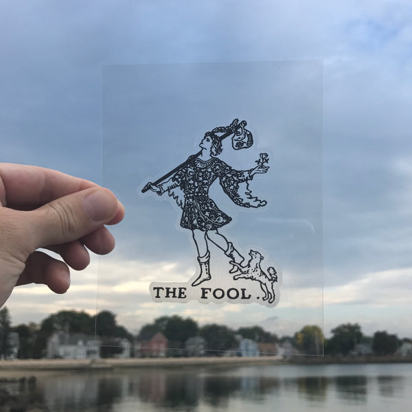 Transparent Vinyl Sticker of The Fool - Black lines