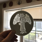 Etched small circular mirror - Temperance