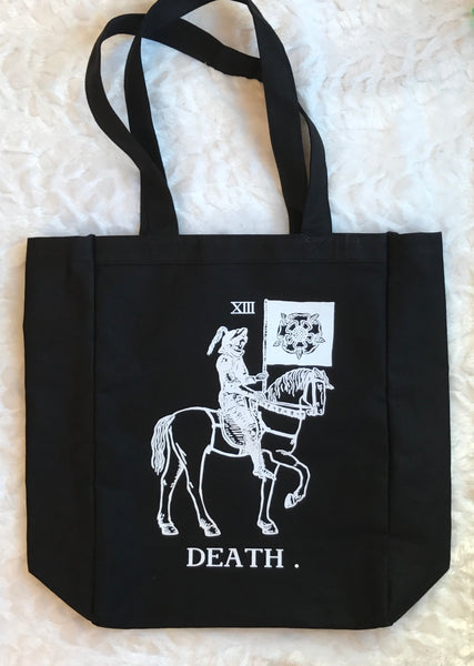 Black Tote Bag printed with Death on Horsey in white ink