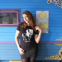 Death on Horsey T-shirt — print from hand carved stamp