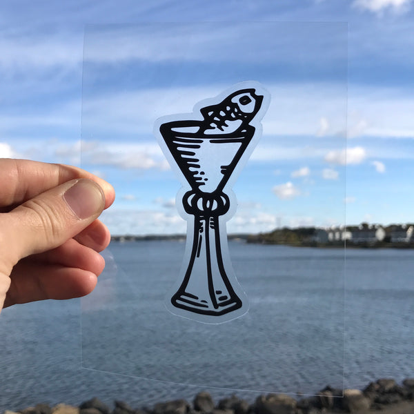 Transparent Vinyl Sticker of Page of Cups Fish - Black lines