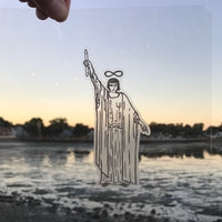 Transparent Vinyl Sticker of The Magician - Black lines