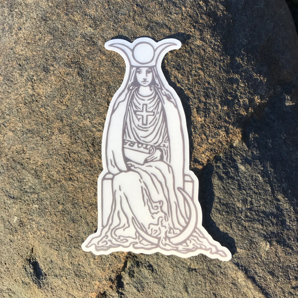 Transparent Vinyl Sticker of The High Priestess - Black lines