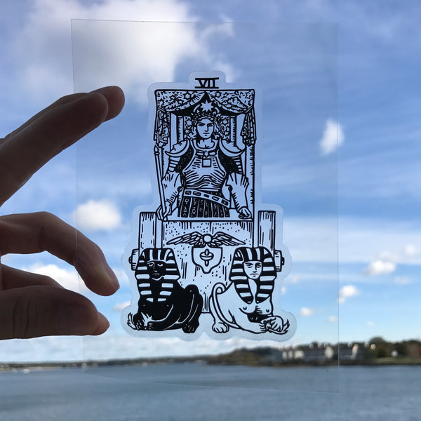 Transparent Vinyl Sticker of The Chariot - Black lines