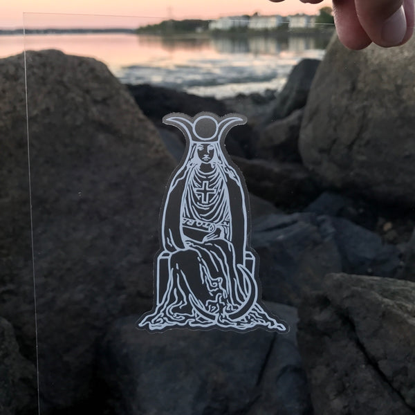 Transparent Vinyl Sticker of The High Priestess - White lines