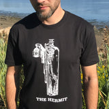 The Hermit T-shirt — print from hand carved stamp