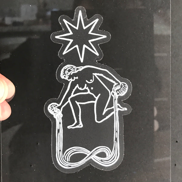 Transparent Vinyl Sticker of The Star - White lines