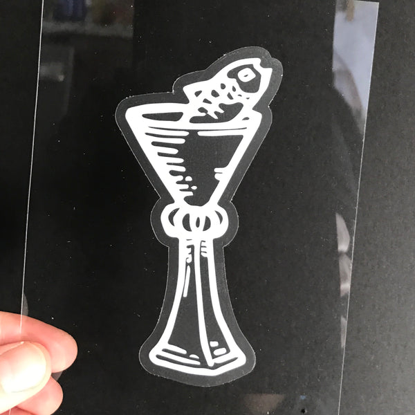 Transparent Vinyl Sticker of Page of Cups Fish - White lines