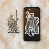 Transparent Vinyl Sticker of the Queen of Wands - White lines