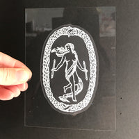 Transparent Vinyl Sticker of The World - White lines