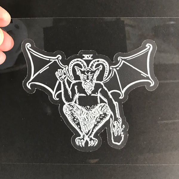 Transparent Vinyl Sticker of The Devil - White lines