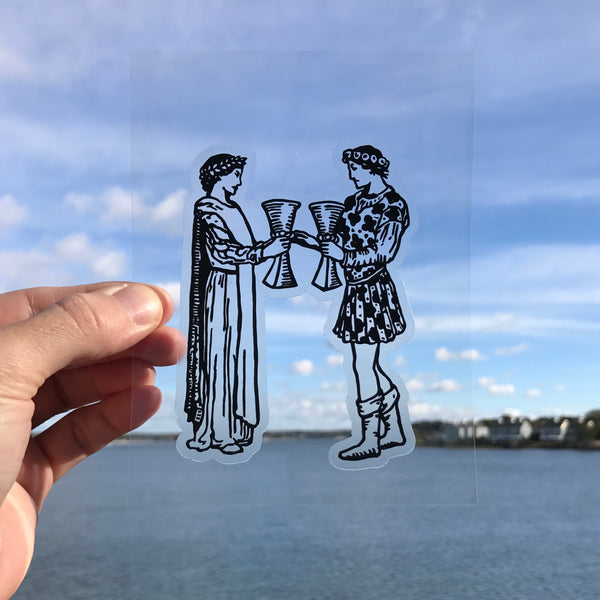 Transparent Vinyl Sticker of the Two of Cups - Black lines