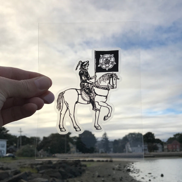 Transparent Vinyl Sticker of Death on Horsey - Black lines
