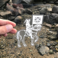 Transparent Vinyl Sticker of Death on Horsey - White lines