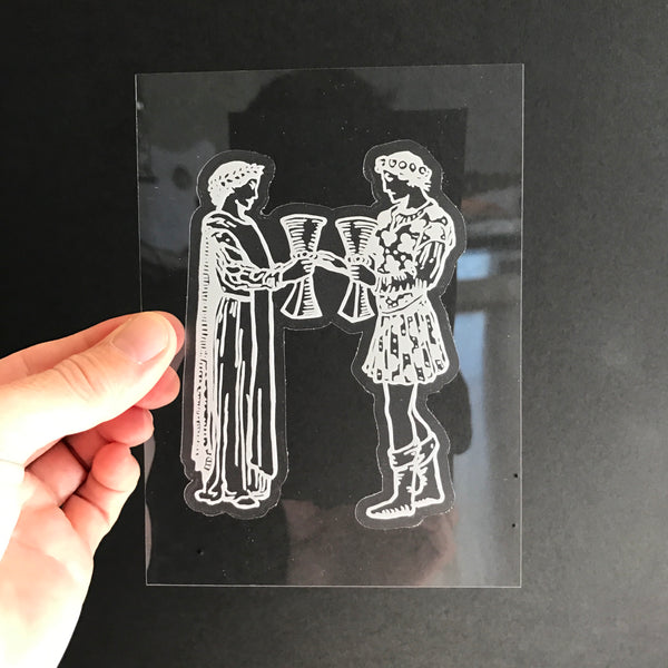 Transparent Vinyl Sticker of the Two of Cups - White lines