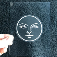 Transparent Vinyl Sticker of The Sun - White lines
