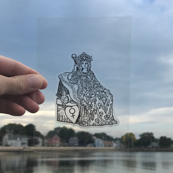 Transparent Vinyl Sticker of The Empress - Black lines