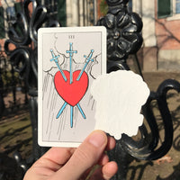 Transparent Vinyl Sticker of the Three of Swords - White lines
