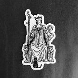 Transparent Vinyl Sticker of the Queen of Wands - Black lines