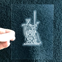 Transparent Vinyl Sticker of the Queen of Swords - White lines