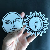Transparent Vinyl Sticker of The Moon - Black lines