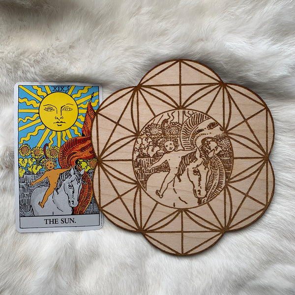 Wooden Crystal Grid - The Sun Child