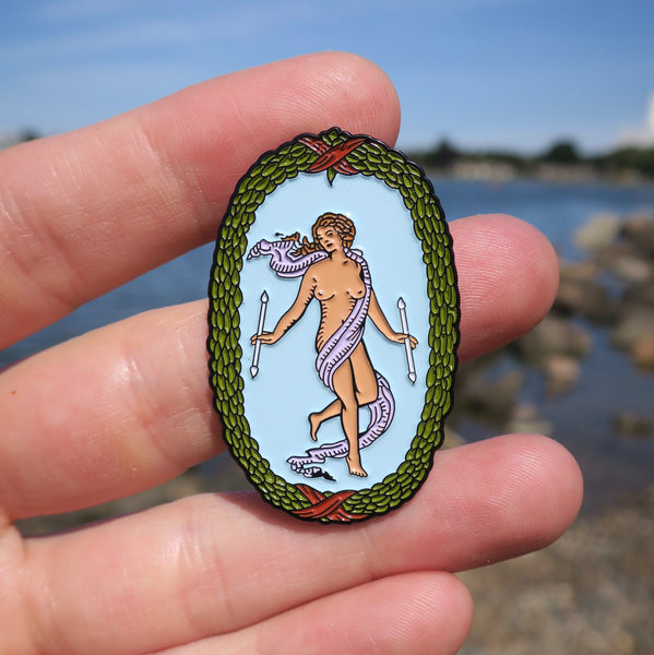 The World Enamel Tarot Pin