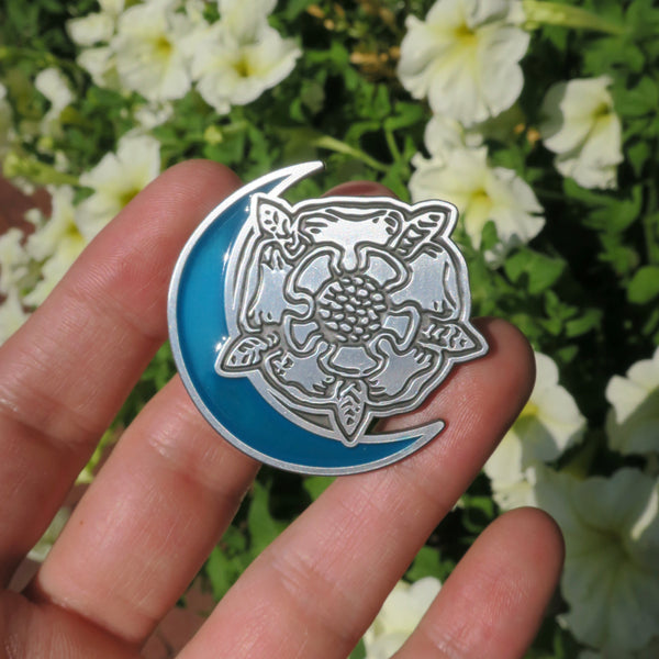 Death Flower Moon Enamel Pin - Blue Moon
