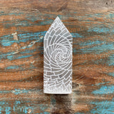 Engraved Selenite Wand - Floral Fractal Design