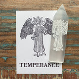 Engraved Selenite Wand - Temperance close up
