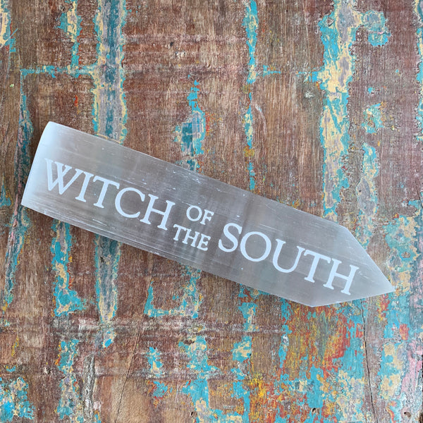 Engraved Selenite Wand - Witch of the South
