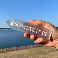 Engraved Selenite Wand - 'So Mote It Be'