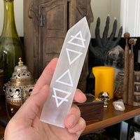 Engraved Selenite Wand - Four Elements
