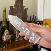 Engraved Selenite Wand - HEKATE