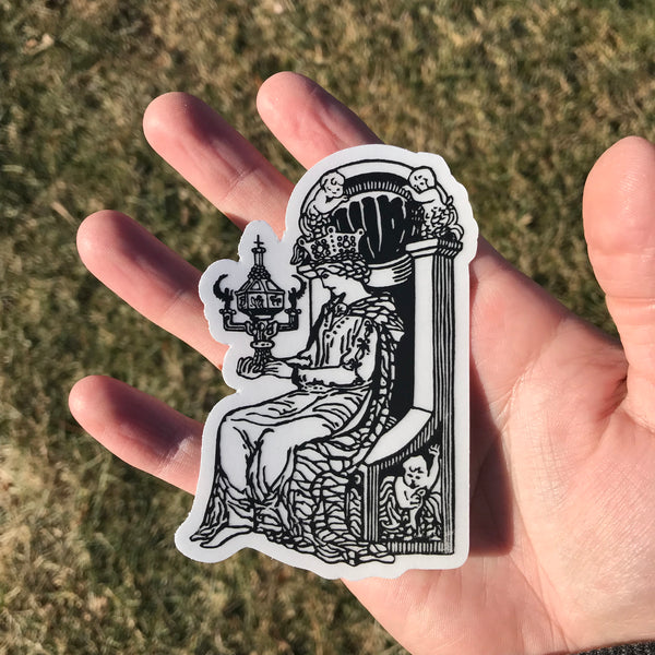 Transparent Vinyl Sticker of the Queen of Cups - Black lines