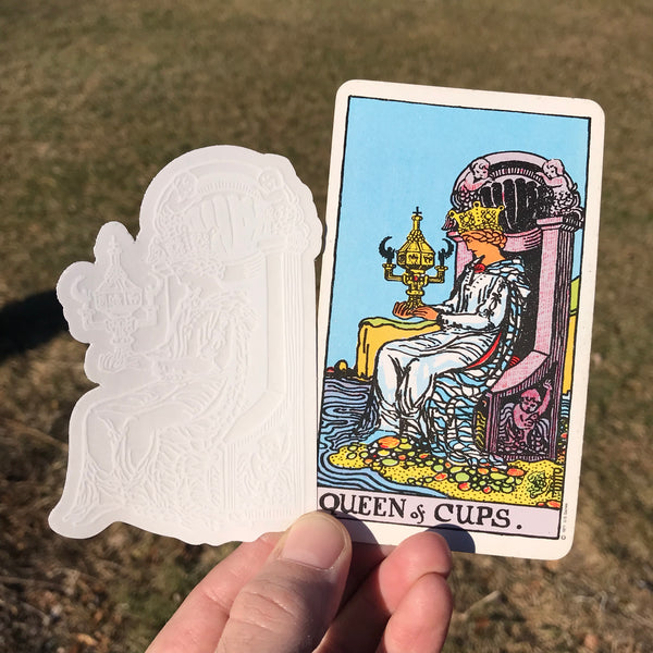 Transparent Vinyl Sticker of the Queen of Cups - White lines