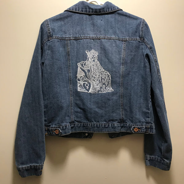 Jean Jacket printed with The Empress in white ink