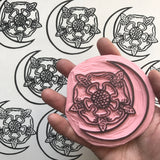 Flower Moon Transparent Vinyl Sticker - White lines