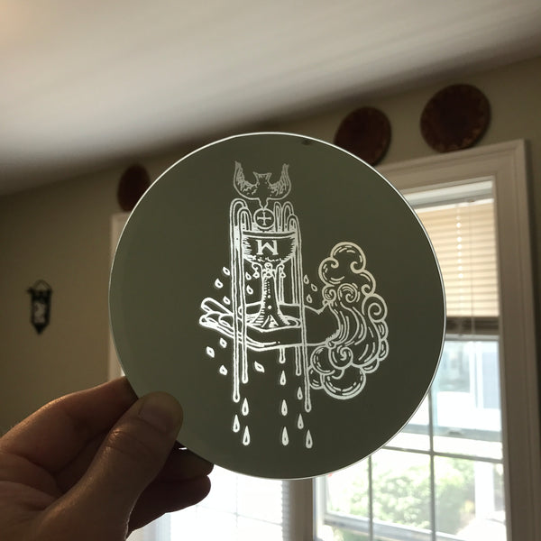 Etched circular mirror - Ace of Cups
