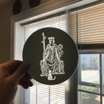 Etched circular mirror - Queen of Wands
