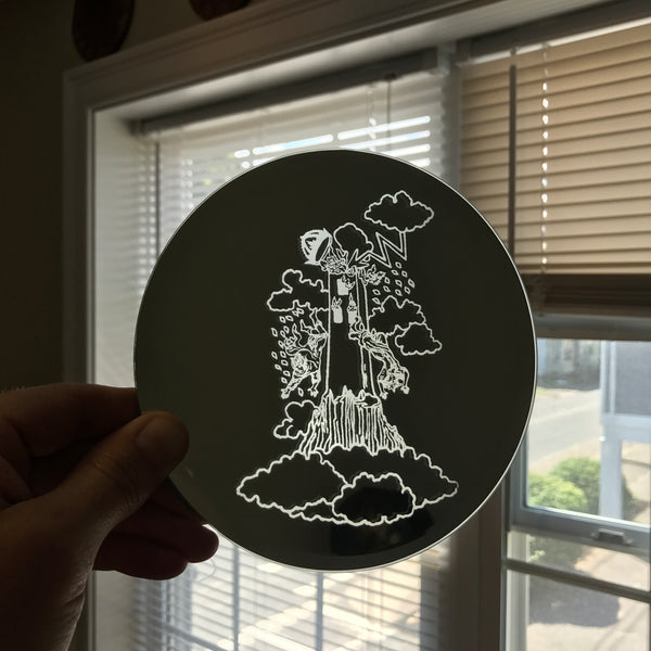 Etched circular mirror - The Tower