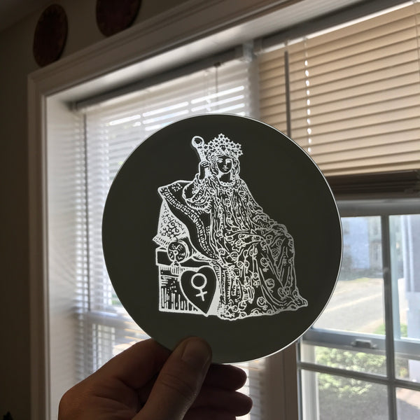 Etched circular mirror - The Empress