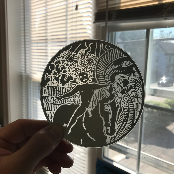 Etched small circular mirror - The Sun (close up of the child on horseback)