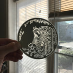 Etched small circular mirror - Portrait of the Queen of Pentacles