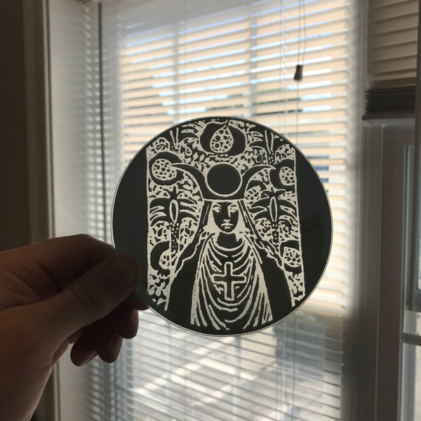 Etched small circular mirror - The High Priestess Portrait