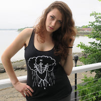 Three of Swords Ladies' Tank Top Dark Gray/Vintage Black Next Level Brand Triblend Racerback