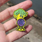Glow in the Dark Witchy Hand with Glittery Crystal Ball Enamel Pin